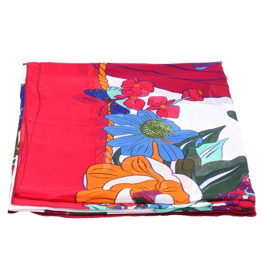HERMES 經典繽紛花卉圖形棉質大披肩(艷紅)