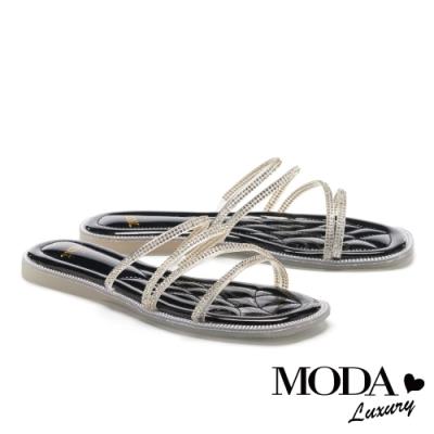 拖鞋 MODA Luxury 極簡晶耀多條帶方頭平底拖鞋-黑