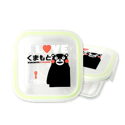 金德恩 台灣製造 [兩組]日本九州熊本Kumamon 方形玻璃保鮮盒700ml
