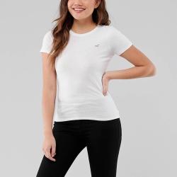 海鷗 Hollister 經典圓領海鷗素面短袖T恤(BONL)(女)-白色