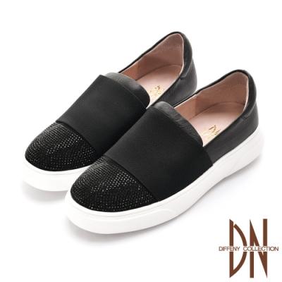 DN休閒鞋_舒適繃帶拼接水鑽真皮平底休閒鞋-黑