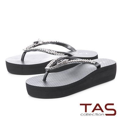 TAS鳳梨水鑽人字厚底夾腳拖鞋-百搭黑