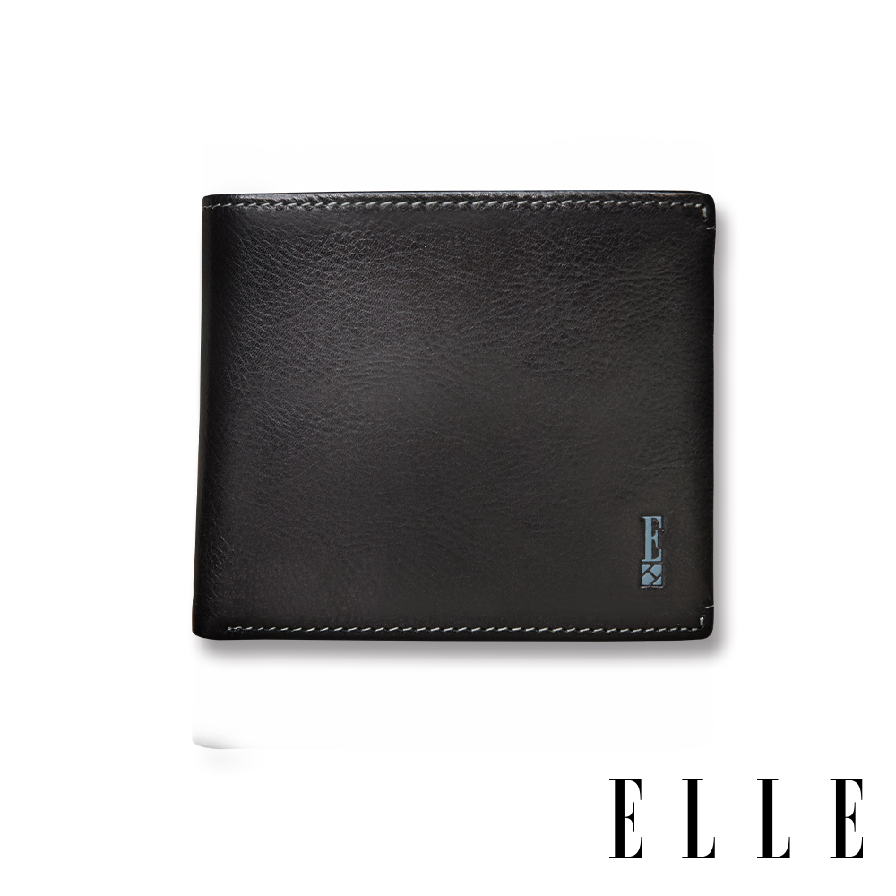 ELLE HOMME 壓紋Logo系列-3卡窗格簡約真皮皮夾/短夾/零錢袋- 紳士黑