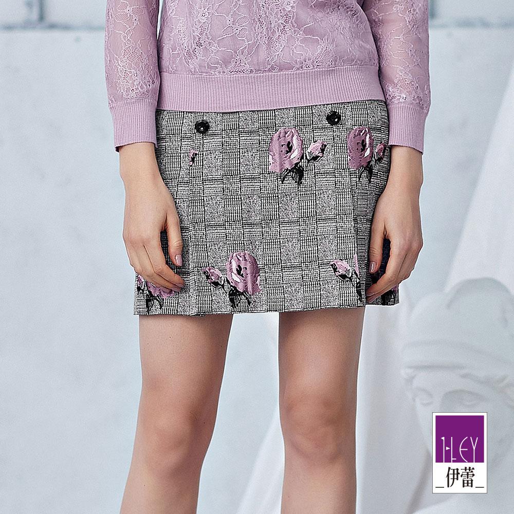 ILEY伊蕾 玫瑰格紋雙排釦造型褶裙(灰) @ Y!購物