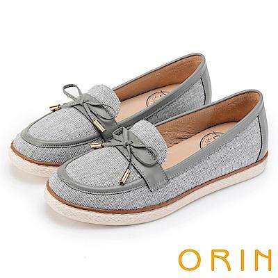 ORIN 引出度假氣氛 格紋布面休閒平底便鞋-灰色