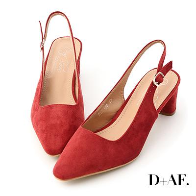 D+AF 自信主張.微尖頭絨料後空中跟鞋*紅