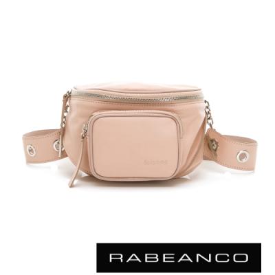 RABEANCO INA牛皮T型鏈條寬背帶斜背/腰包(小) 淺粉