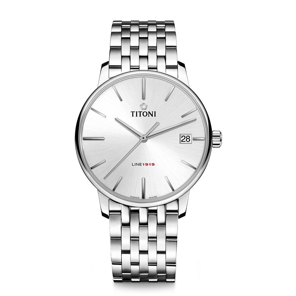 TITONI瑞士梅花錶 LINE1919 百周年系列錶款 T10 超薄自製機芯 (83919 S-575)-銀面鋼帶/40mm
