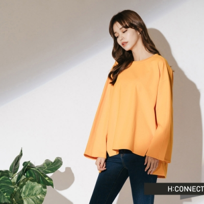H:CONNECT 韓國品牌 女裝-落肩設計後綁結上衣-黃