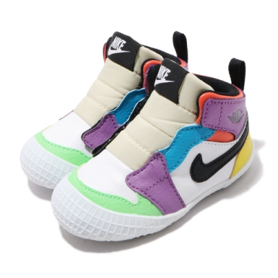 Nike 休閒鞋 Jordan 1 CRIB 小童鞋 喬丹 高筒 嬰幼童 AJ1 穿搭 白 彩 AT3745109