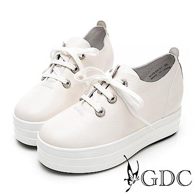 GDC-真皮質感簡約增高心機水鑽綁帶蝴蝶結休閒鞋-白色