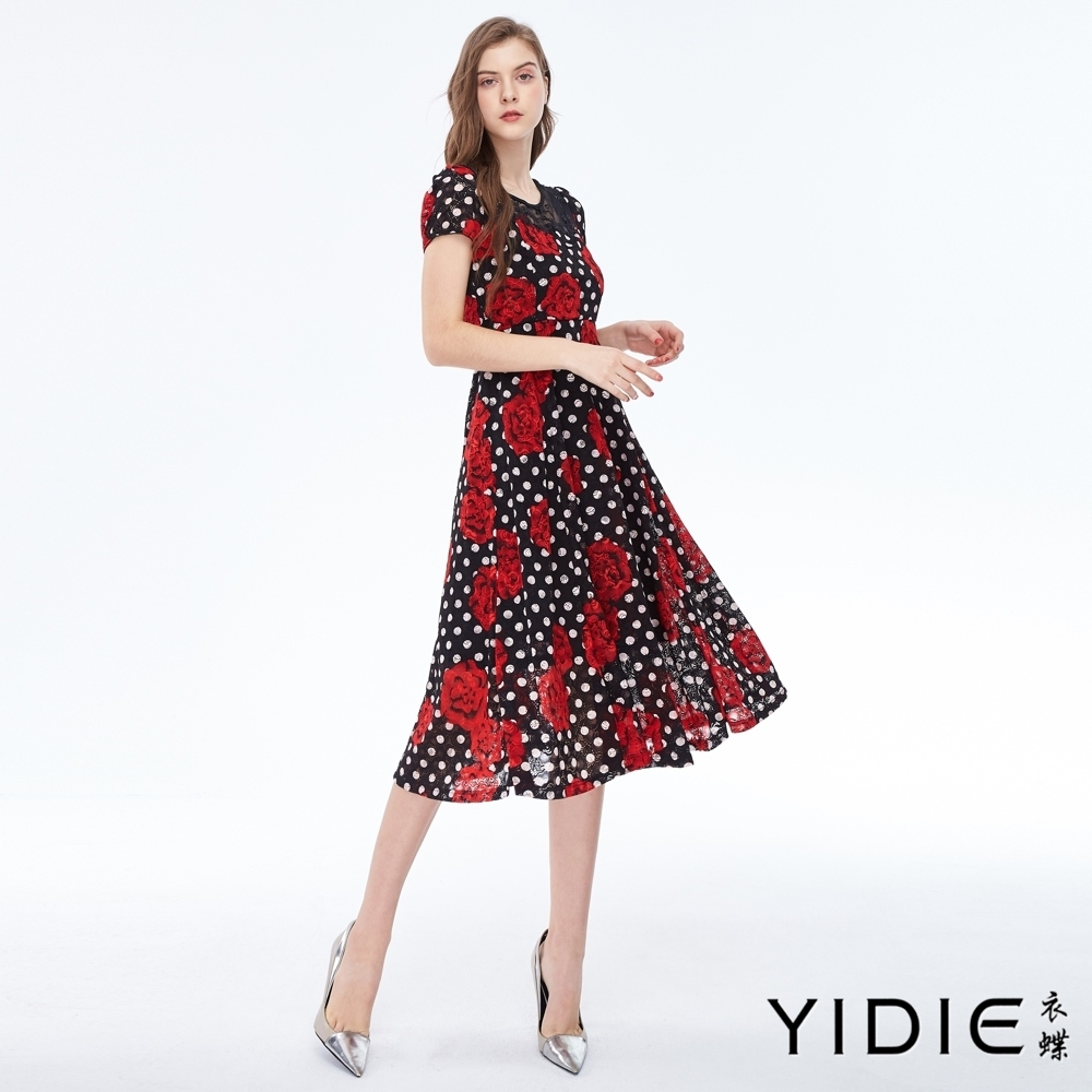 YIDIE衣蝶 大馬革士玫瑰拼接點點長洋裝