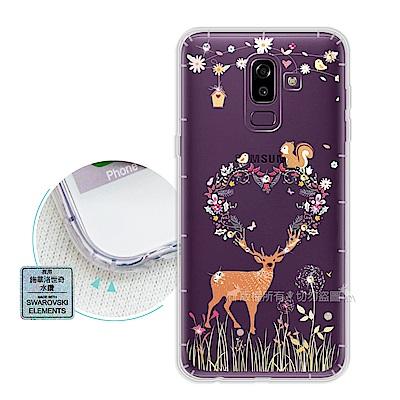 EVO Samsung Galaxy J8 異國風情 水鑽空壓手機殼(小鹿松鼠)