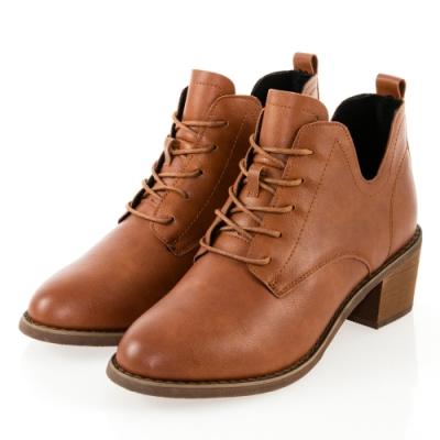 JMS-英倫風側U口復古造型綁帶粗跟短靴-棕色