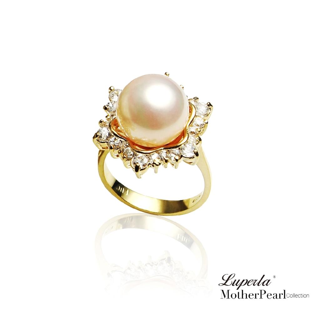 大東山珠寶 南洋貝寶珠 璀璨純銀戒指 雪花燦爛 金