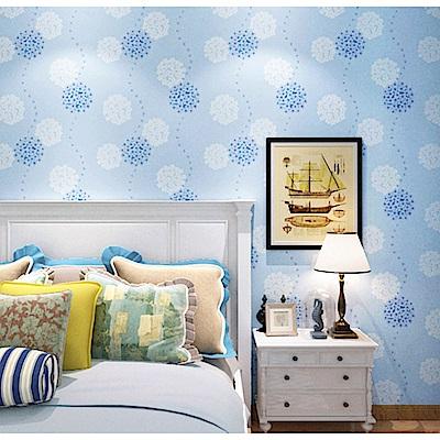 半島良品 防水PVC自黏裝飾牆紙45x200cm-藍色花球
