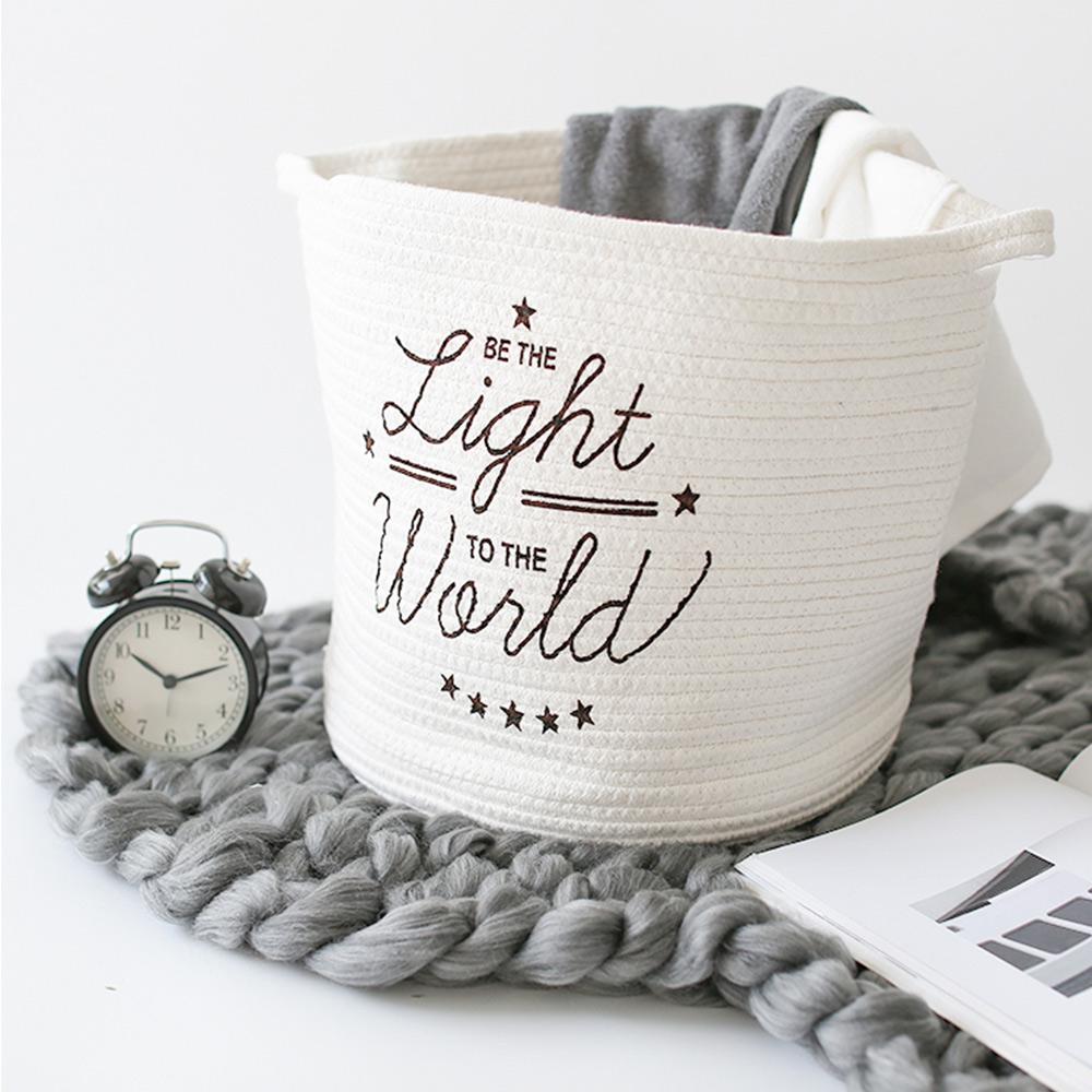 【收納職人】簡約北歐手感棉線編織浪漫英文裝飾置物籃/收納籃 (英文暖白)