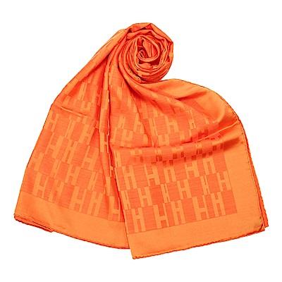 HERMES 經典H logo羊絨混絲圍巾(橘色)