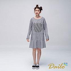 Dailo INLook 小熊輪廓格紋拼接短洋裝(黑)