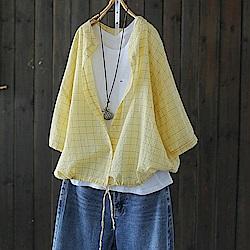 輕薄人棉格子繫帶襯衫防曬襯衣開衫上衣-設計所在