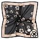 CLATHAS山茶花虛線格紋燙金LOGO純綿帕巾領巾-黑色 product thumbnail 1