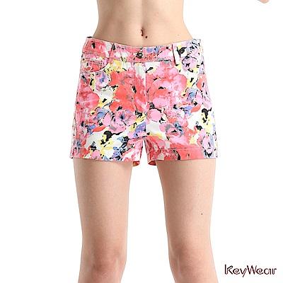 KeyWear奇威名品    時尚暈染印花短褲-粉紅色