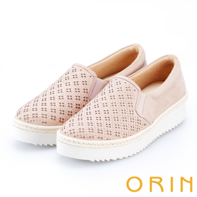 ORIN 休閒時尚風 幾何洞洞燙鑽平底休閒便鞋-粉紅