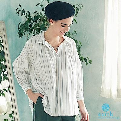 earth music 素面/條紋有機混紡寬鬆襯衫上衣