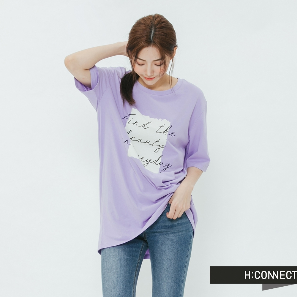H:CONNECT 韓國品牌 女裝-浪漫手寫文字T-shirt-紫