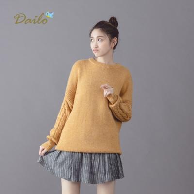 【Dailo】經典款麻花長袖-針織上衣(三色)