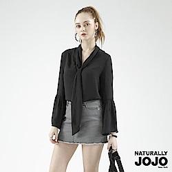 【NATURALLY JOJO】氣質領綁帶雪紡衣(黑)