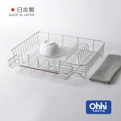 日本大木金屬 Outline 日製究極鏤線18-8不鏽鋼加大型餐具瀝水籃(附筷架&吸水墊)