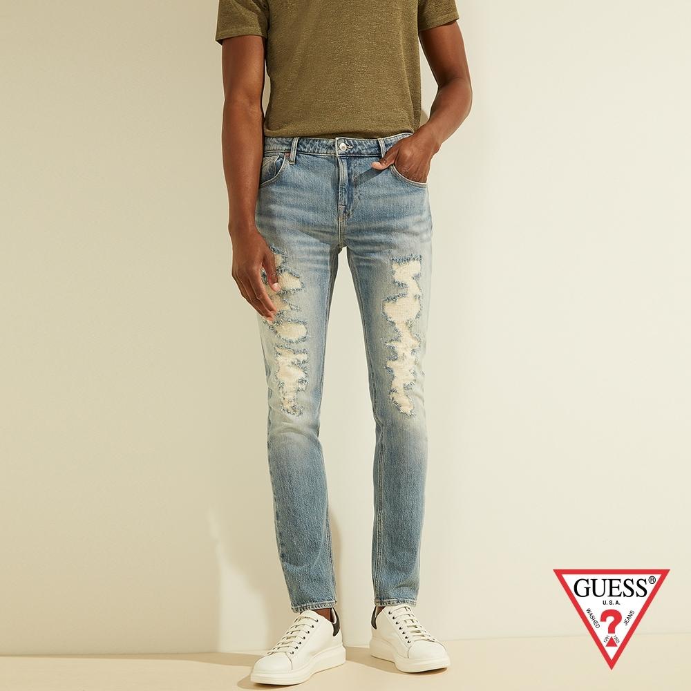 GUESS-男裝-個性斑駁刷破緊身牛仔褲-藍 原價3490