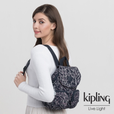 Kipling 英式粉漆塗鴉掀蓋後背包-FIREFLY UP
