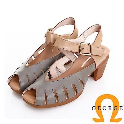 GEORGE 喬治皮鞋 日系簡約真皮鏤空魔鬼氈粗跟涼鞋 -灰色
