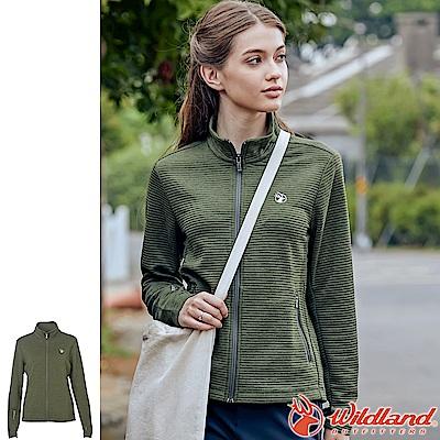 Wildland 荒野 0A62607-48深墨綠 女彈性針織時尚保暖外套
