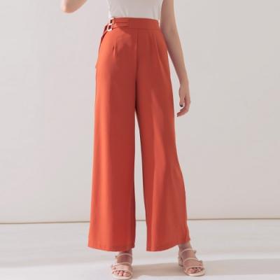 AIR SPACE 側雙金屬腰帶造型寬褲(橘)