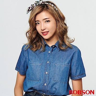 BOBSON 女款有機棉、短版牛仔襯衫