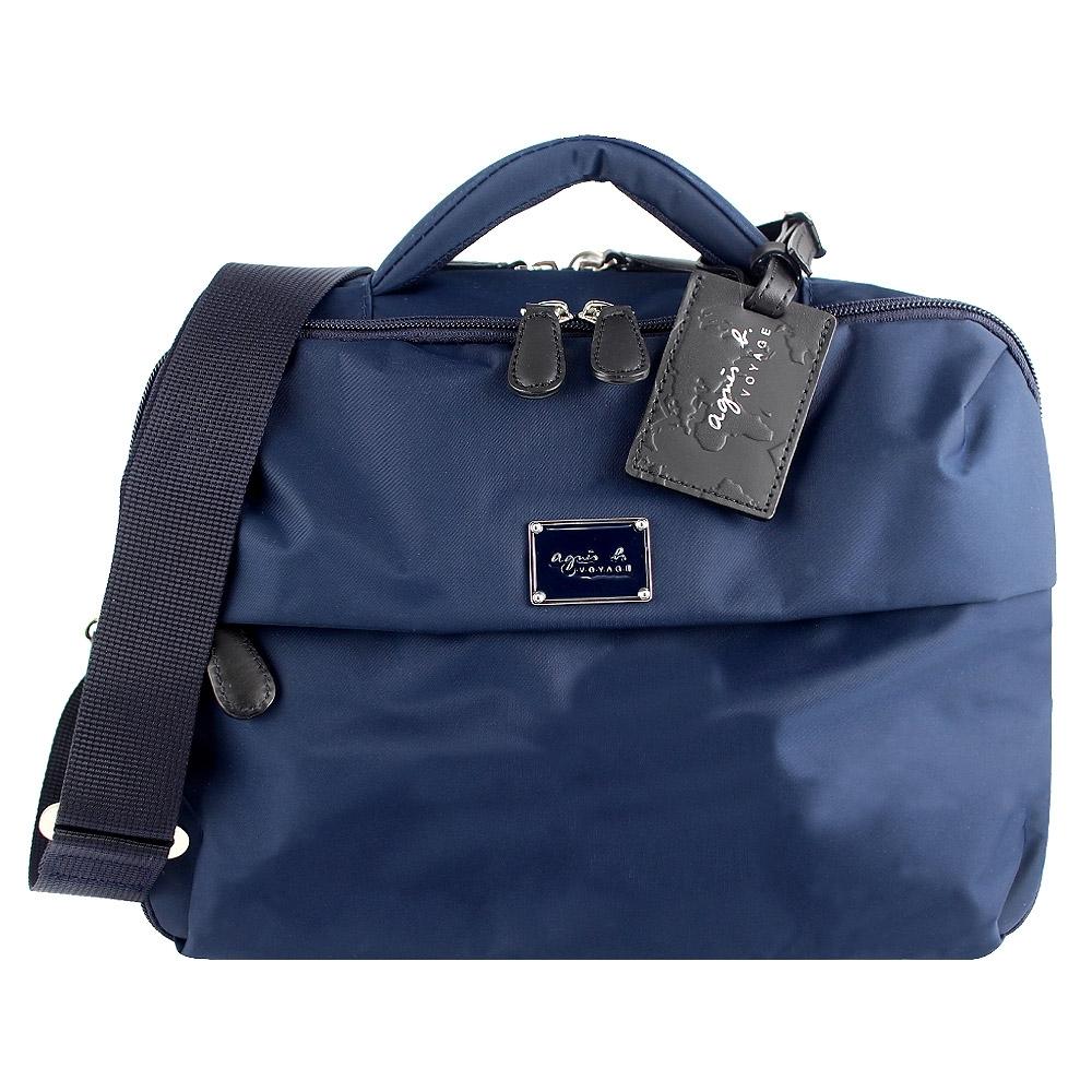 agnes b.VOYAGE 藍色尼龍方形兩用手提/斜背旅行包