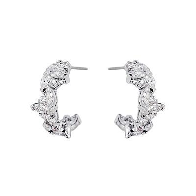 SWAROVSKI 施華洛世奇 水晶雙環葉片造型銀色耳環