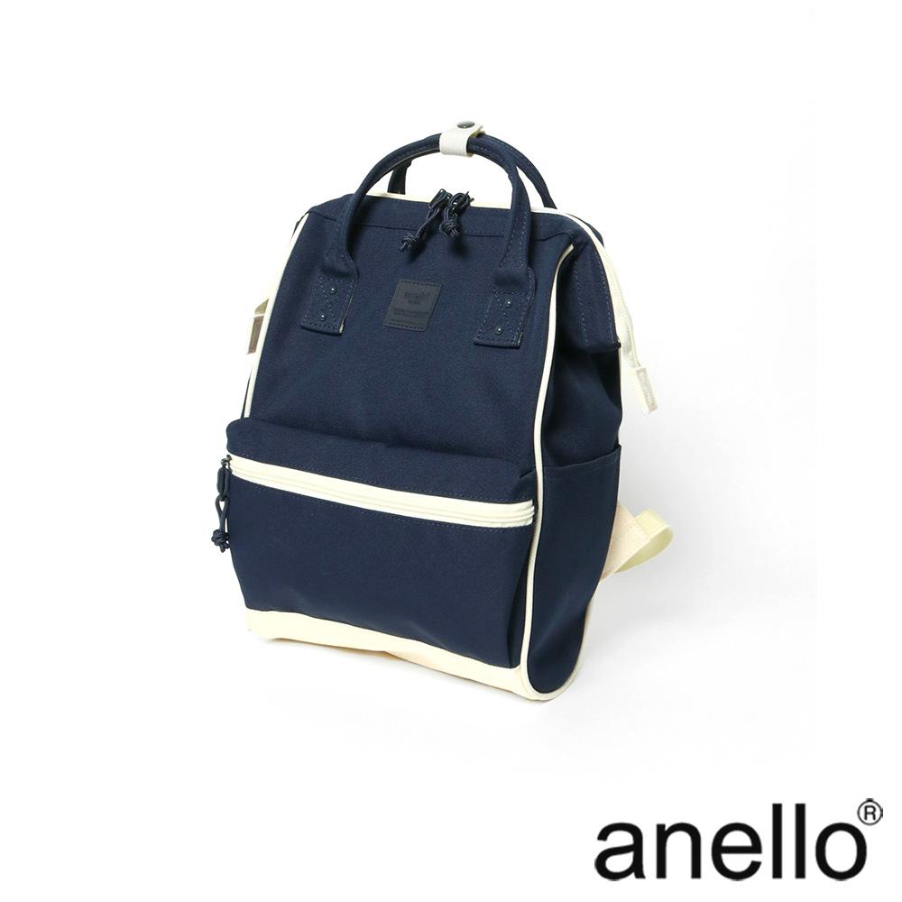 anello 簡雅配色口金式後背包 深藍  M