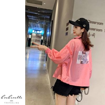 2F韓衣-韓系個性後背印花造型薄外套-2色(S-2XL)
