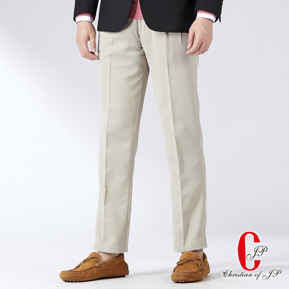 Christian 頂規設計舒適打摺長褲_卡其(HW507-2)