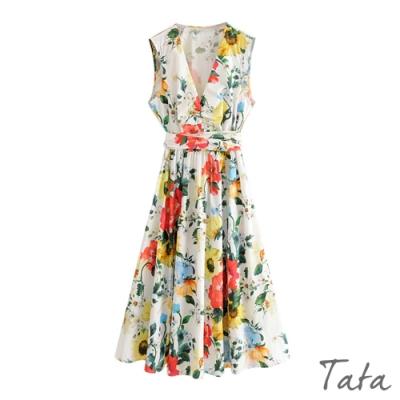 V領花朵印花無袖洋裝 TATA-(S~L)