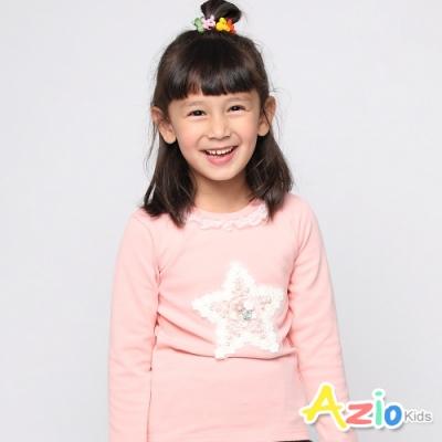 Azio Kids 女童 上衣 星星蕾絲花朵長袖上衣(粉)