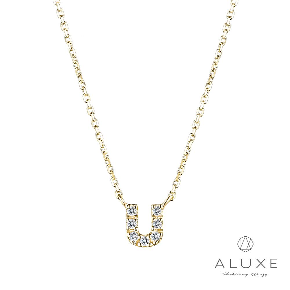 ALUXE亞立詩Alphabet系列10K鑽石項鍊-U