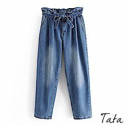 花苞刷色抽鬚牛仔褲(附綁帶) TATA