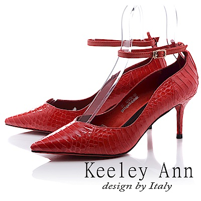Keeley Ann 韓式風潮~蛇紋波浪造型細帶飾釦真皮高跟鞋(紅色-Ann)