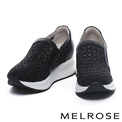 休閒鞋 MELROSE 異材質拼接晶鑽刺繡網布內增高厚底休閒鞋-黑