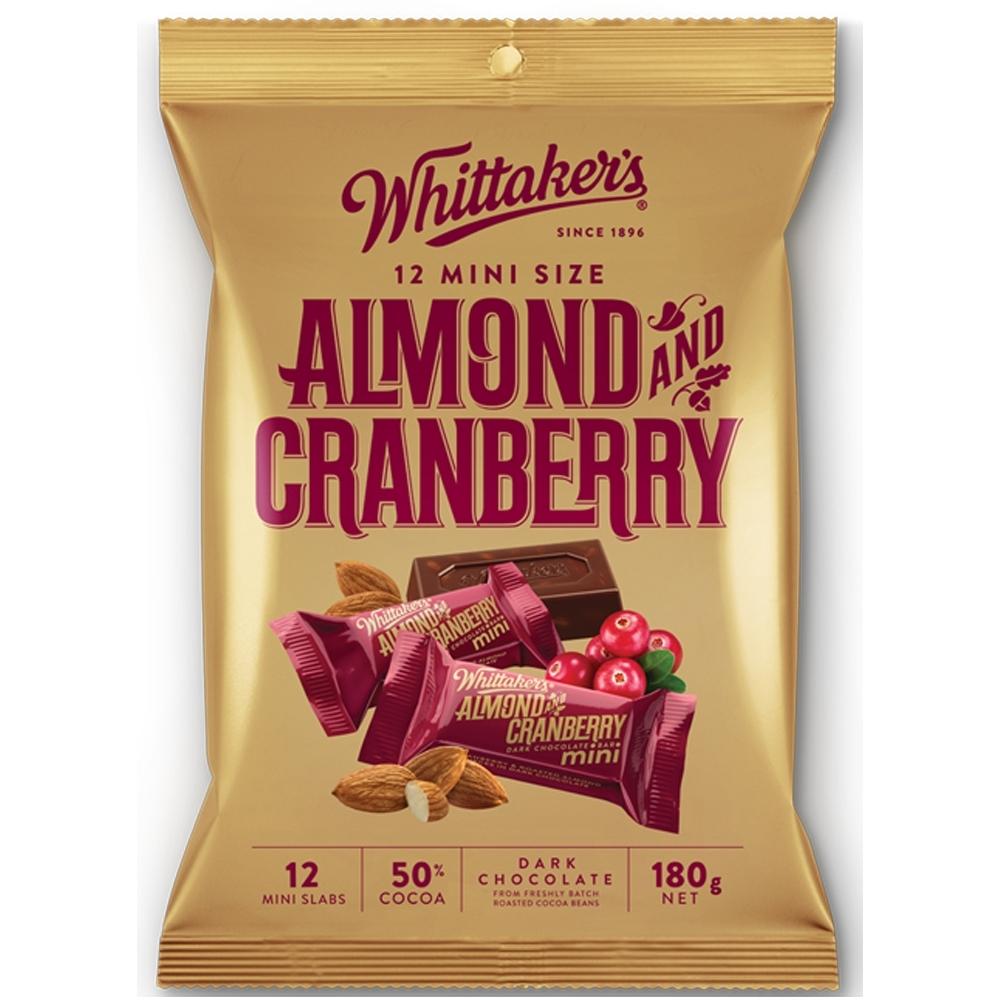 Whittaker's 杏仁蔓越莓夾餡黑巧克力磚形分享包(180g)